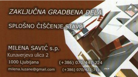 Vzdrževanje objektov, Milena Savić s.p.